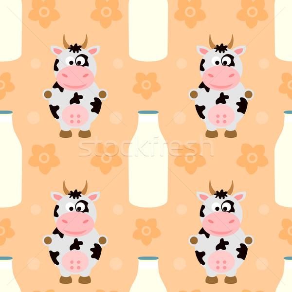 Vache drôle printemps bébé sourire Photo stock © Dimpens