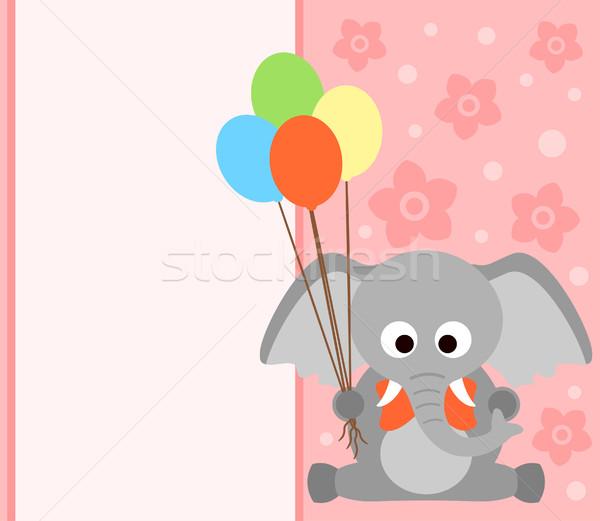 Carte éléphant drôle fleur sourire fête Photo stock © Dimpens