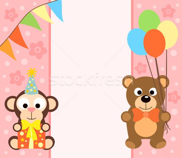 Singe ours drôle fleur sourire fête Photo stock © Dimpens