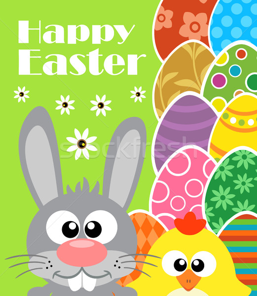 Happy Easter background with rabbit and chicken  Stock photo © Dimpens