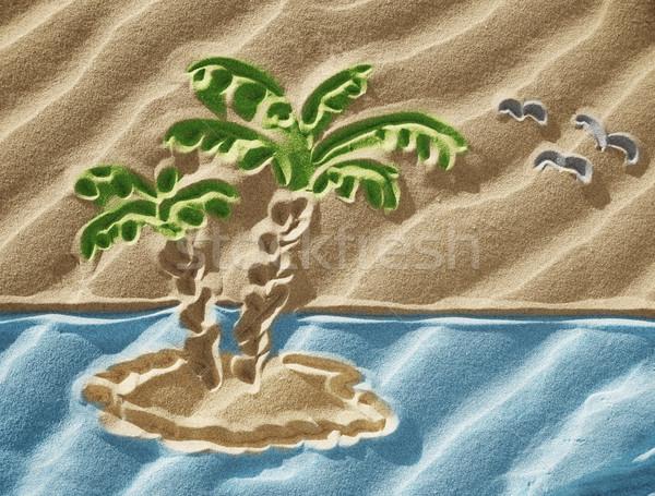 Dessin sable faible île plage arbre Photo stock © Dinga