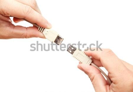 рук usb кабелей бизнеса компьютер Сток-фото © Dinga