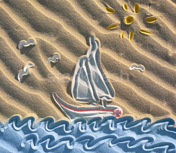 рисунок парусника песок пляж природы Сток-фото © Dinga