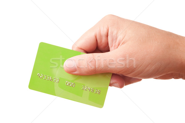 Hand holding green plastic card Stock photo © Dinga