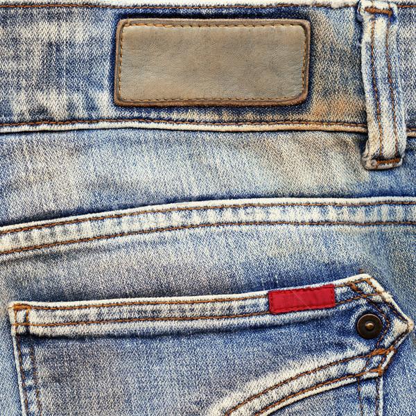 Cuir coton étiquettes jeans détaillée Photo stock © Dinga