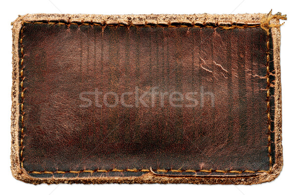Brown natural leather label Stock photo © Dinga
