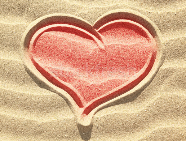 красный сердце рисунок песок природы Сток-фото © Dinga