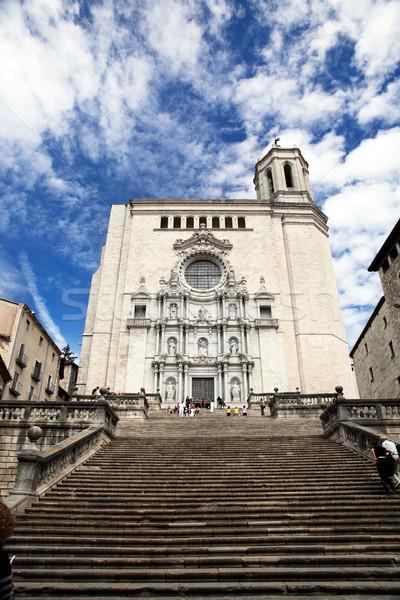 Cathédrale Espagne majestueux escaliers nuages bâtiment Photo stock © Dinga