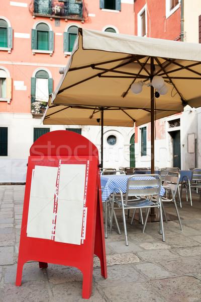 Blank menu board at small street cafe Stock photo © Dinga