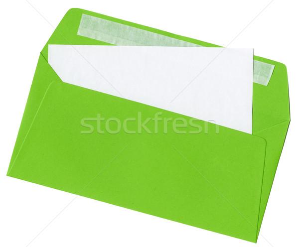 Vert lettre ouvrir enveloppe papier vierge carte Photo stock © Dinga