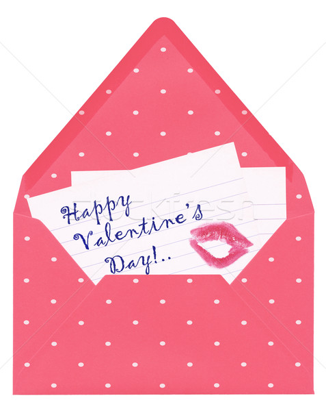 Amour lettre heureux saint valentin rouge à lèvres baiser Photo stock © Dinga