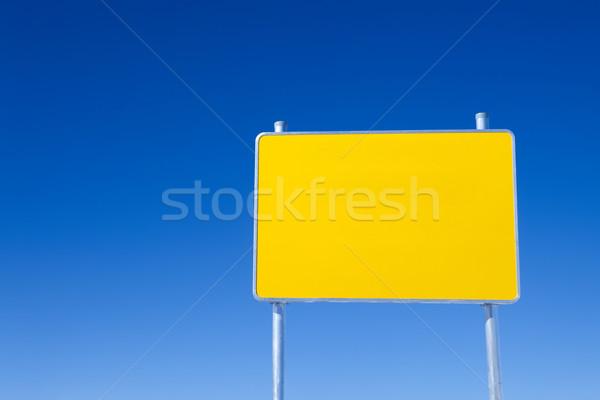 黄色 ボード 明るい 道路標識 青空 空 ストックフォト © Dinga