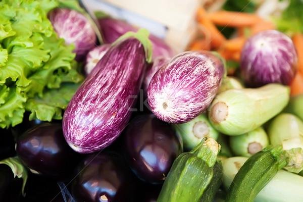 紫色 茄子 新鮮な野菜 市場 ストックフォト © Dinga