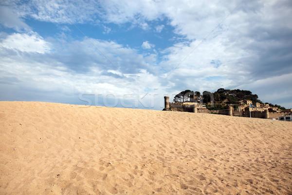 Médiévale château sable ciel soleil fond Photo stock © Dinga