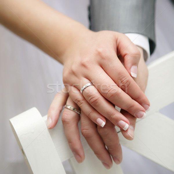 Just married young couple showing up their rings Stock photo © Dinga