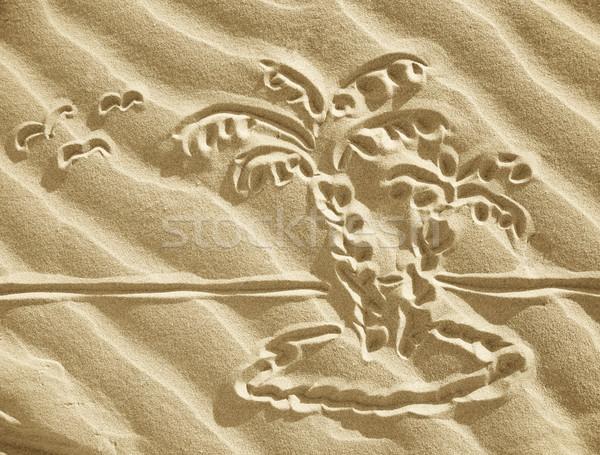 図面 砂 小 島 ビーチ ツリー ストックフォト © Dinga