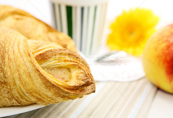 新鮮な クロワッサン クローズアップ 朝食 表 食品 ストックフォト © Dinga