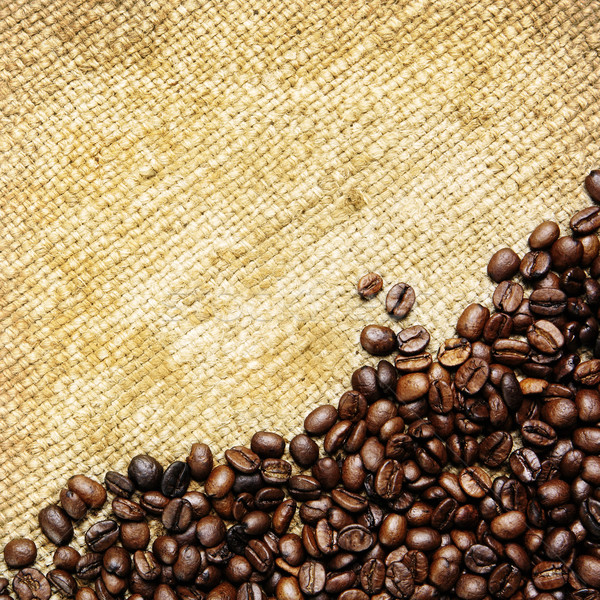 Stock photo: Coffee beans on traditional sack textile