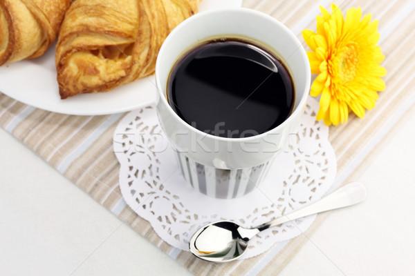 カップ ブラックコーヒー クロワッサン 食品 コーヒー レストラン ストックフォト © Dinga