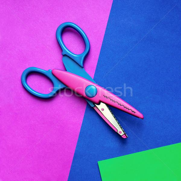 Couleur papier ciseaux coloré texture école Photo stock © Dinga
