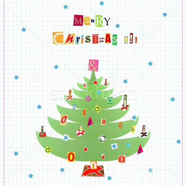веселый Рождества художественный коллаж Cartoon стиль Сток-фото © Dinga