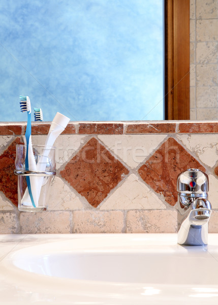 подробность классический ванную интерьер стены синий Сток-фото © Dinga