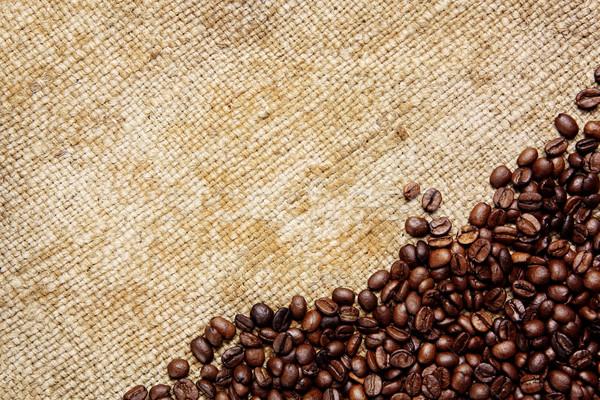 Grains de café traditionnel sac textiles fond boire Photo stock © Dinga