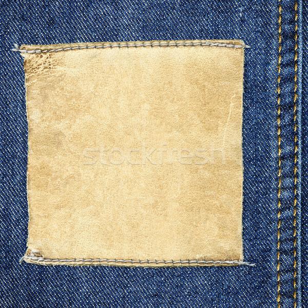 квадратный кожа Label джинсов текста подробный Сток-фото © Dinga