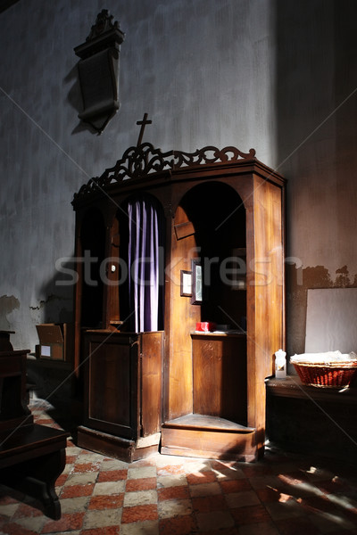 Christian confessional in mysterious light Stock photo © Dinga