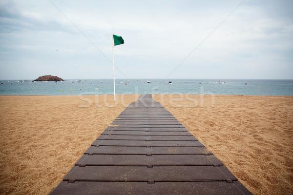 облачный день пляж влажный песок пути Сток-фото © Dinga