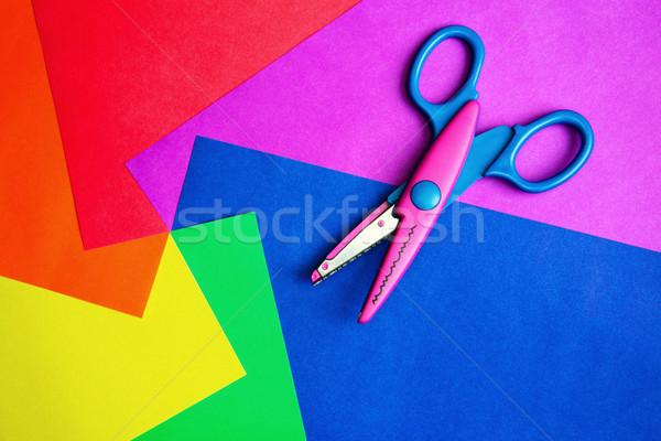 Zdjęcia stock: Kolor · papieru · nożyczki · kolorowy · grupy · czerwony