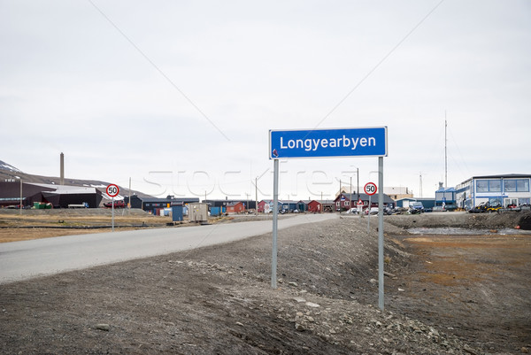 Road sign of Longyearbyen city, Svalbard Stock photo © dinozzaver