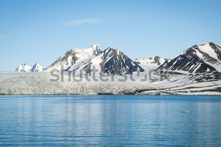 Panorama of glacier above the sea with mountains behind, Svalbar Stock photo © dinozzaver