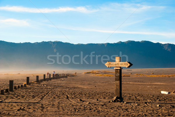 Sign towards Bromo mountain, Java, Indonesia Stock photo © dinozzaver