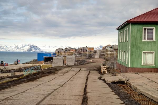 Main street in Barentsburg, russian settlement in Svalbard Stock photo © dinozzaver