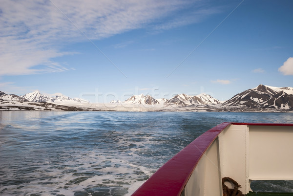Ship moving away from the glacier in Arctic, Svalbard Stock photo © dinozzaver