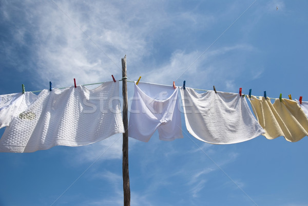 Laundry drying on the rope outside Stock photo © dinozzaver