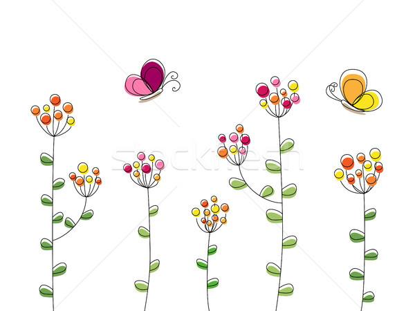 Farfalle fiori illustrazione battenti fioritura fiore Foto d'archivio © dinozzaver
