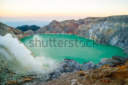 Kawah Ijen volcanic crater at morning dawn, Java, Indonesia Stock photo © dinozzaver