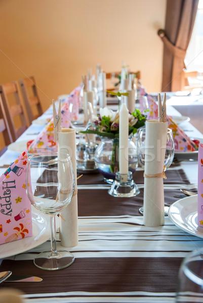 Cumpleanos mesa decoración placas gafas fiesta Foto stock © dinozzaver