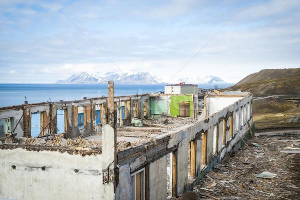 Vernietigd gebouwen russisch stad industriële water Stockfoto © dinozzaver