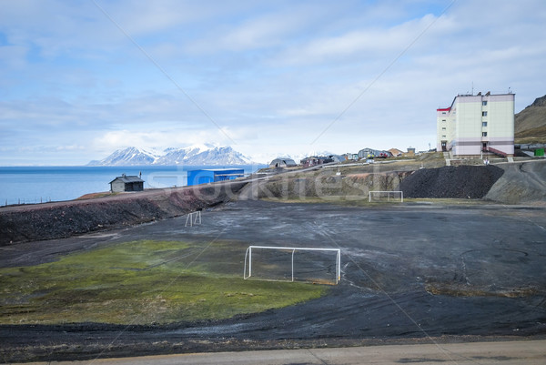 Voetbalveld russisch water gebouw stad natuur Stockfoto © dinozzaver