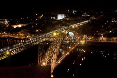 Ponte noite Portugal rio vinho edifício Foto stock © dinozzaver