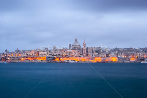 Valletta, capital of Malta at night Stock photo © dinozzaver