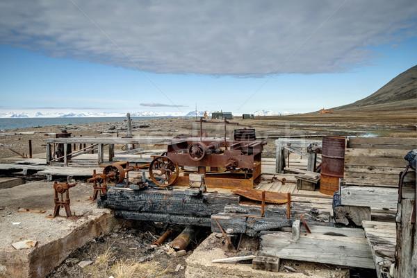 Old rusted minig equipment, Svalbard Stock photo © dinozzaver