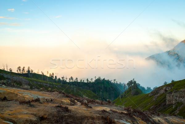 Volcánico paisaje manana amanecer Indonesia vista Foto stock © dinozzaver