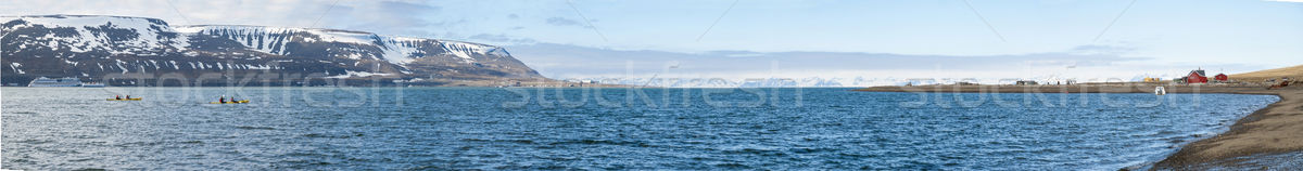 Panorama of Longyearbyen fjord in summer, Svalbard Stock photo © dinozzaver