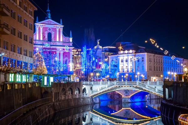 Decorazione Slovenia Natale luce strada chiesa Foto d'archivio © dinozzaver