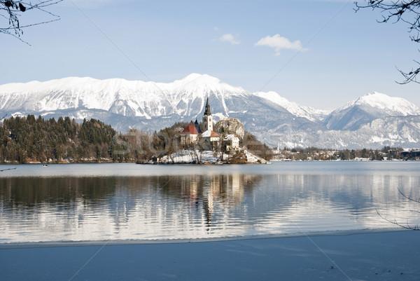 озеро замок за Словения зима небе Сток-фото © dinozzaver