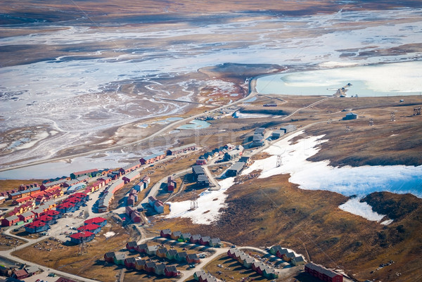 View over Longyearbyen from above, Svalbard Stock photo © dinozzaver